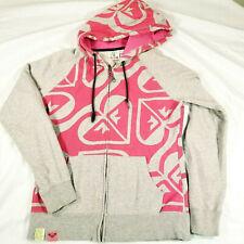 ROXY QUIKSILVER Hoodie Full Zip Hooded Sweatshirt Pink Logo Gray Youth Large