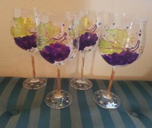 """Gorgeous Set of (4) 10"""" Hand Painted Pinot Wine Glasses"""