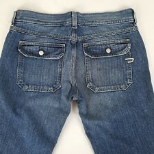 Womens Diesel Nadar Boot Cut Jeans 31 x 29 Dark Wash Cotton Snap Flap Pocket