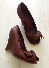 Miu Miu Chocolate Brown Wedges Size 4 / 37 Peep Tow, Bow front Pin Up Shoes