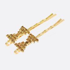 Bobby Pin Rhinestone Crystal Hair Clip Hairpin Bow Wedding Bridal Brown 11-5