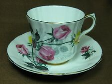 Windsor Bone China England Cup and Saucer Pink and Yellow Roses Gold Trim