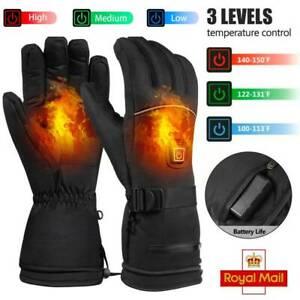 Electric Heated Gloves Motorbike Winter Gloves 3 Level Mens Warmer Hand Mittens