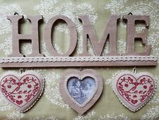 Wooden HOME Wall plaque Hanging Sign 3 hearts 34x11cms.Country style
