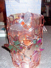 Partylite HONEYCOMB HURRICANE W BUTTERFLY,HONEYBEE,BUTTERFLY MAGNETS & TREE  NIB