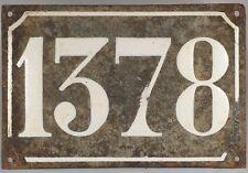 Big old black French house number 1378 door gate plate plaque enamel metal sign