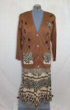 NWT Lisa International Women's Jacket Skirt Dress Set Animal Print Large Stretch