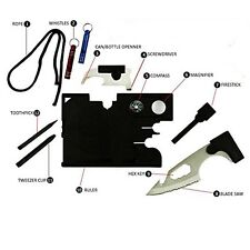 12 In 1 Pocket Survival Card Tool Credit Card Size Multitool W Rescue Whistle!