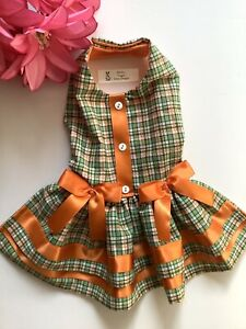 Handmade  Doggie Dress Plaid Theme Size M