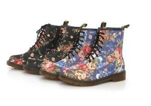 Fashion Ladies Floral print  Lace Up low Heel Combat Riding Ankle Boots Shoes