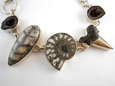 925 Sterling Silver Geode Druzy Pyrite Ammonite Shark Tooth Orthoceras Bracelet