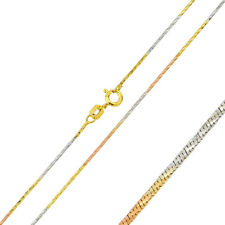 Men Women 0.9mm Sterling Silver Italian Necklace Tri-Color DC Snake Chain