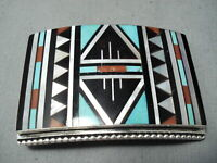 NOTEWORTHY VINTAGE ZUNI TURQUOISE STERLING SILVER BUCKLE NATIVE AMERICAN OLD