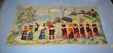"""Large Asian Hanging Tapastry 56"""" W x 29"""" T Asian Parade Pagoda Scene"""