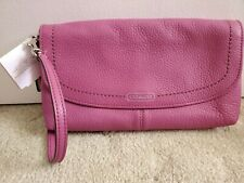 Coach Park Leather Large Flap Wristlet - Rose Pink & Silver F49177 - NWT - Rare