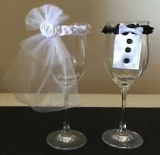 Wedding Bride & Groom glass toasting decorations - set  Veil & Bow Tie