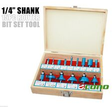 """1/4"""" Shank 15pc Router Bit Wood Working Power Tools Shop Carbide Tipped Set"""