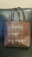 Pendleton Cowhide Leather Cargo Tote Bag Purse Native Pattern Large