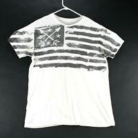 Helix Mens T-Shirt Size Large Cotton Short Sleeve Crew Neck Flag Graphic White