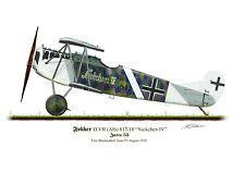 Fokker D.V11 Aircraft Profile Artwork Blumenthal A3 Glossy Print WW1 signed