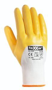 6-432 TEXXOR Nitrilhandschuhe Arbeitshandschuhe Gartenhandschuhe gelb Nitril