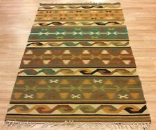 Tribal Flatweave Kilim Geometric Handwoven Wool Green Brown Rug 123x184cm 60 off