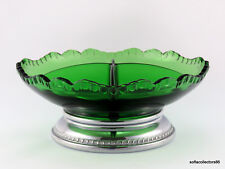 Cambridge Forest Green Gadroon 4 Part Relish Dish Farber Bros. Silver Plate Base