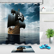 Polyester Fabric Shower Curtain Liner Retro Caribbean Pirate Ship Bathroom Decor