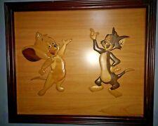 More details for rare large wooden tom & jerry vintage picture warner bros
