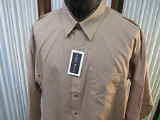 John Weitz designer brand NEW dress shirt tan lt brown BNWT tags sz 17 32/33