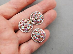 "Button Lot 3 Silver Tone Metal Aurora Borealis Red Rhinestone Vintage 3/4"" Domed"