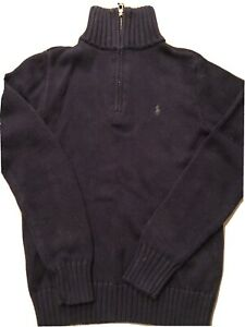Ralph Lauren Polo Boys 1/4 Zip Navy Blue Cotton Sweater Size 10/12