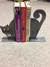 "Hand Crafted Galanized Steel ""Cat� Book Ends Rare"