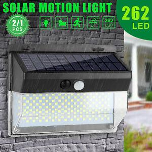262 LED Solar Powered PIR Motion Sensor Wall Security Light Lamp Garden Outdoor