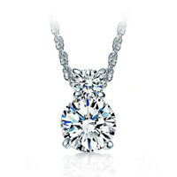 925 Sterling Silver AAAA Double Zircon Pendant Necklace For Women Jewelry