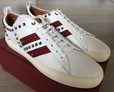 750$ Bally Helvio White Leather Sneakers with Gunmetal Studs size US 13