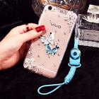 Glitter Jewelled Bling Crystal Diamonds Soft gel Phone back Case Cover & strap P