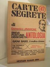 CARTE SEGRETE N. 47 Domenico Javarone Breve postuma dissegreta antologia