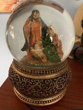 Sankyo Nativity Musical Snow Globe Silent Night Mary Jesus Joseph