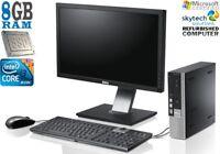 """ULTRA SMALL DELL PC SET INTEL C2D i3 8GB 250GB 19"""" 22"""" TFT Monitor WINDOWS 7 10"""