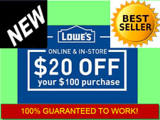Ten (10x) Lowes $20 OFF $100-Coupon 3 Minutes-Fast Delivery-EXP 11/30/17 Pato