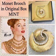 Brooch Pin in Original Box, Nib Monet Gold Tone Rhinestone Swirl Modernist