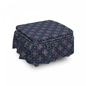 Ambesonne Bohemian Ottoman Cover 2 Piece Slipcover Set and Ruffle Skirt