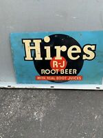 VINTAGE ADVERTISING HIRES ROOT BEER METAL SODA SIGN 12x7
