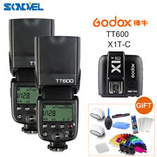 2X Godox TT600 2.4G Wireless Camera Flashes+ X1T-C Transmitter for Canon Cameras