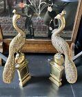 Antique Art Nouveau Brass & Iron Fire Dogs- Peacocks On Ball Feet Plinth.