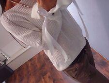 Strick Pulli M L Neu Cotton Blogger Knit Itala Trend Weiß Pullover schleife 38