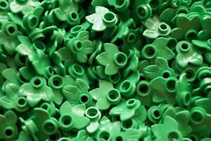 LEGO 40x GREEN PLANT PLATE,ROUND 1x1 WITH LEAVES No 32607 -CITY-FRIENDS-ELVES-