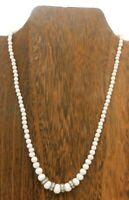 "Vintage Japan White Milk Glass Round Bead Rhinestone Fancy Clasp 17"" Necklace"