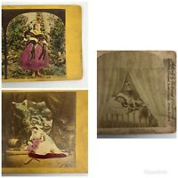 ANTIQUE LOT OF 3 CHILDREN COLORIZED STEREOVIEW 3D STEREOSCOPIC IMAGES